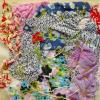 Obra textil: Materiales: hilos, telas, botones... de diferentes colores. Yute para la base