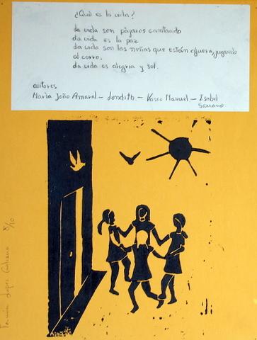 Ilustración de una narración o poesía. Técnica: Grabado linoleum