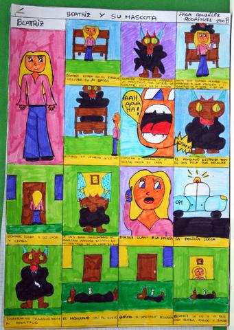 El comic o tebeo. Técnica: rotuladores. Personajes: figurativo/abstracto