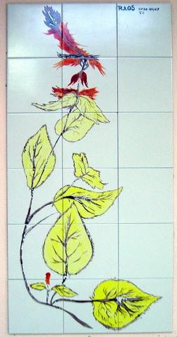 Mural con azulejos y colores a baja temperatura. Azulejos comerciales de 20x20